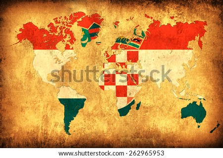 The flag of Croatia in the outline of the world map - stock photo