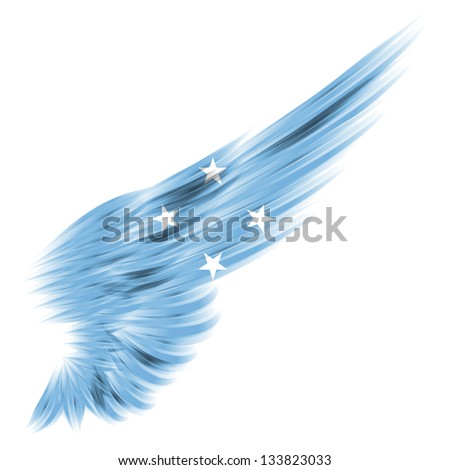 The flag of Federated States of Micronesia on Abstract wing with white background - stock photo
