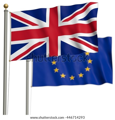 The flag of Great Britain with EU-flag after Brexit - 3D Illustration - stock photo