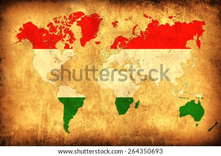 The flag of Hungary in the outline of the world map - stock photo