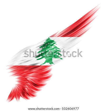 The flag of Lebanon on Abstract wing with white background - stock photo
