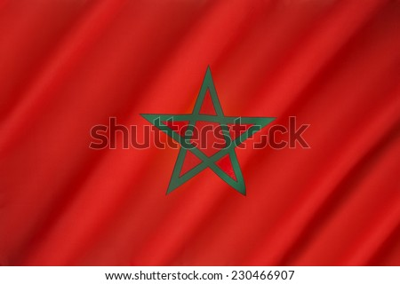The flag of Morocco - Red has great historic significance in Morocco, proclaiming the descent of the royal Alaouite family from the Islamic prophet Muhammad. - stock photo