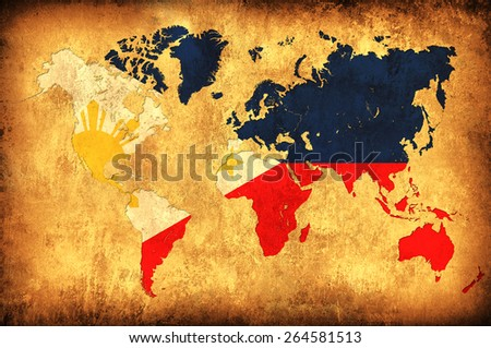 The flag of Philippines in the outline of the world map - stock photo