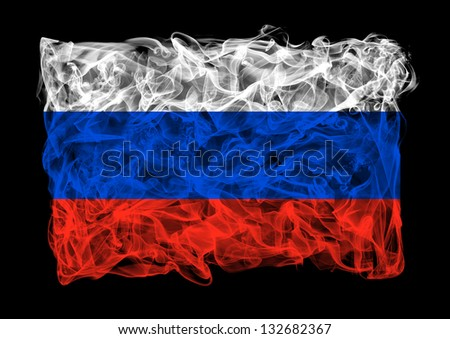 The flag of Russia consists of a smoke - stock photo