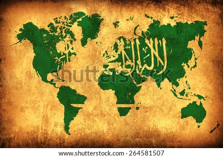 The flag of Saudi Arabia in the outline of the world map - stock photo