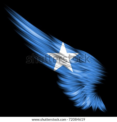The flag of Somalia on Abstract wing and black background - stock photo