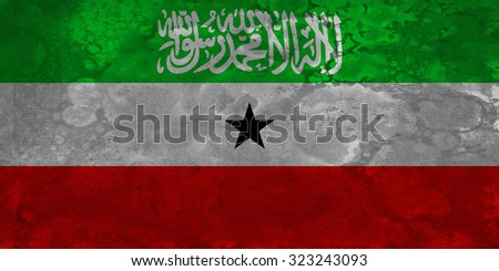 The flag of Somaliland is used in Somaliland, a self-declared republic that is internationally recognized as an autonomous region of Somalia. - stock photo