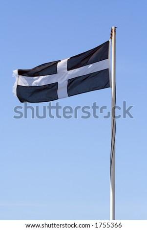 The flag of St Piran - stock photo
