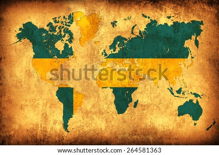The flag of Sweden in the outline of the world map - stock photo