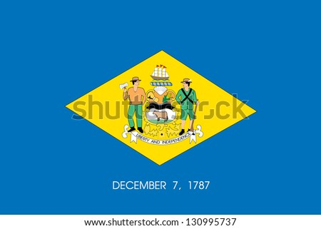 The flag of the United States of America State Delaware - stock photo