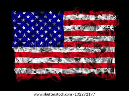 The flag of United States consists of a smoke - stock photo