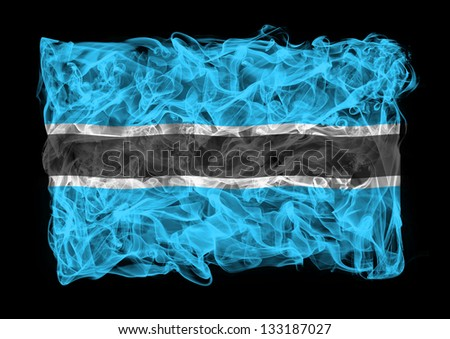 The flag Republic of Botswana consists of a smoke - stock photo