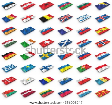 The flags of Europe from the cubes. European flags on a white background. - stock photo