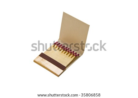 The flammable matches in the matchbook isolated on the white - stock photo