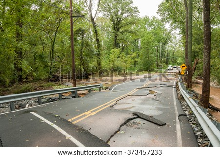 The flood water of a hurricane flooding the countryside. - stock photo