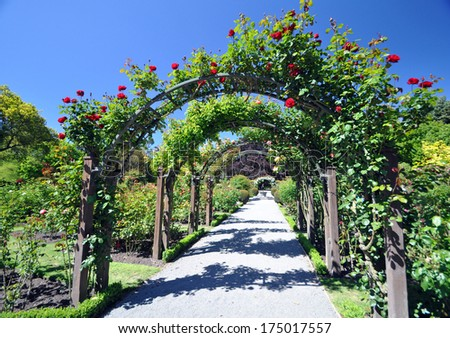 The Floral Arch, English style rose garden.  - stock photo