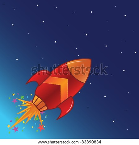 The flying rocket in space - stock photo