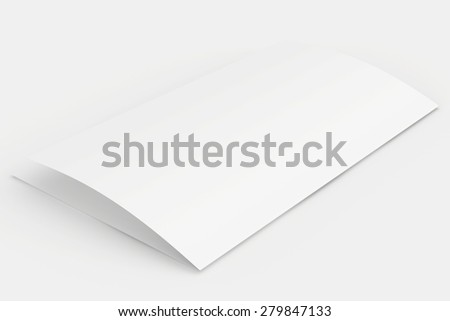 The folded blank sheet of paper. 3d render - stock photo