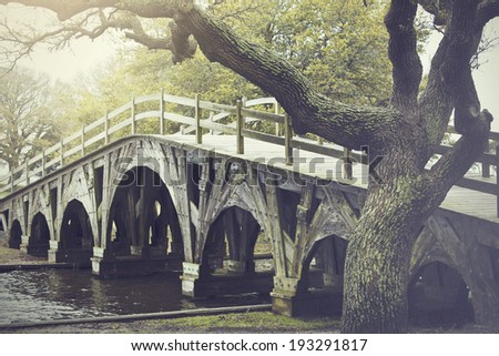 The footbridge in Corolla, North Carolina is on the national register of historic places. - stock photo