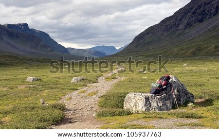 The footpath with of the Kungsleden trail in northern Sweden - stock photo