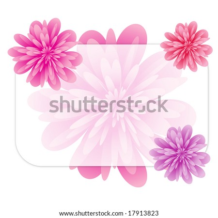 The form decorated with beautiful magnificent  flowers of red and violet tones. - stock photo