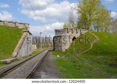 The former railway bridge destroyed during the second world war - stock photo