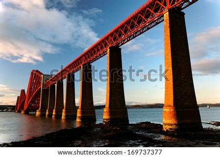 The Forth Bridge and Firth of Forth, Scotland - stock photo
