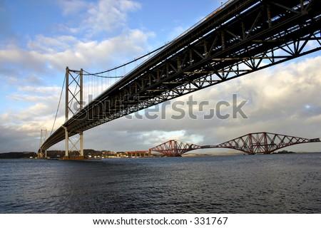 The Forth Bridges. The Forth Road and Rail Bridges Scotland - stock photo