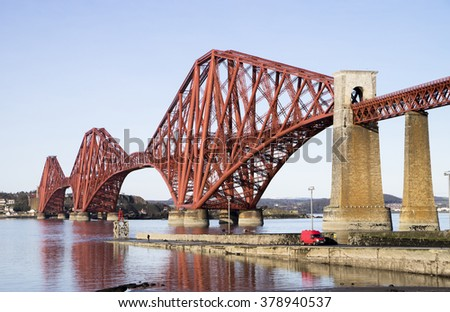 The Forth Rail Bridge, Scotland, connecting South Queensferry (Edinburgh) with North Queensferry (Fife) - stock photo