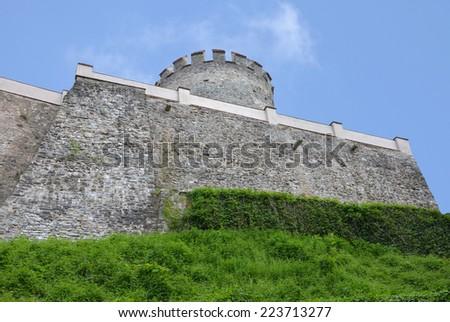 The fortifications of the castle Cesky Sternberk, Czech republic. A Bohemian castle of the 13th century. - stock photo