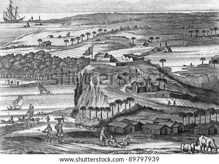The fortress of Kalutara in Sri Lanka. Engraved by Baldaeus and published in Description of the Isle of Ceylon, United Kingdom, 1672. - stock photo