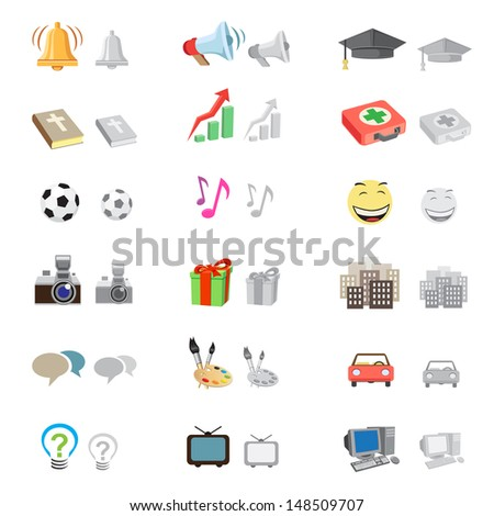 The forum icon set suitable to use any kind of website, with monochrome version, isolated on the white background - stock photo