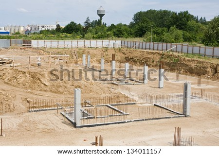 The foundations of the building site - stock photo