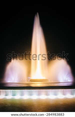 The fountain at night, at Point State Park, in Pittsburgh, Pennsylvania. - stock photo