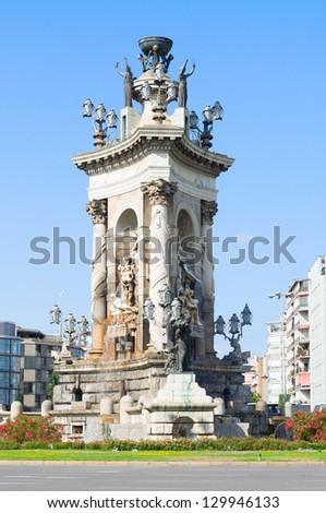 The fountain at the centre of the Placa d'Espanya. Barcelona, Spain. - stock photo