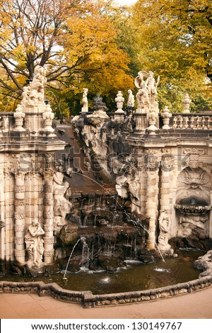 """The fountain """"Bath of nymphs"""" in Zwinger. The Zwinger is a palace in Dresden, eastern Germany - stock photo"""