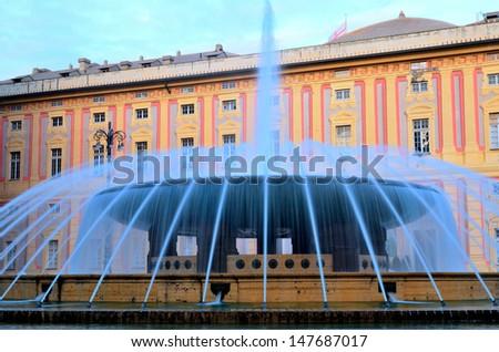 the fountain in Piazza de Ferrari Genoa Italy - stock photo