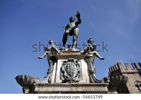 The Fountain of Neptune (Fontana di Nettuno) - famous landmark of Bologna in Italy - stock photo