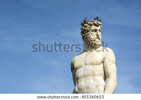 The Fountain of Neptune is a fountain in Florence, Italy, situated on the Piazza della Signoria, in front of the Palazzo Vecchio. - stock photo