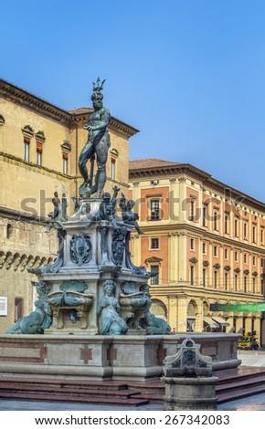 The Fountain of Neptune is a monumental fountain located in the eponymous square, Piazza del Nettuno, next to Piazza Maggiore, in Bologna, Italy - stock photo