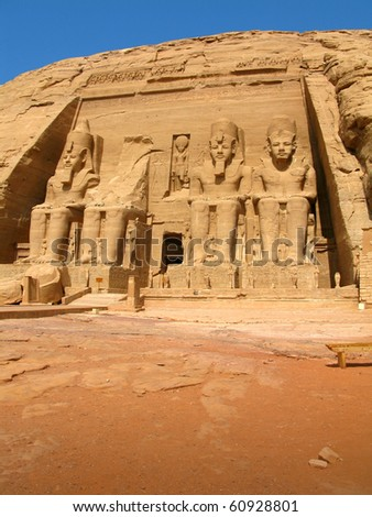 The four colossal stuatues at the Temple of King Ramses II, in Abu Simbel (Nubia, Egypt) - stock photo