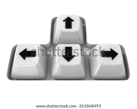 The four white keyboard arrows keys on a white background. Front view. 3D render illustration - stock photo