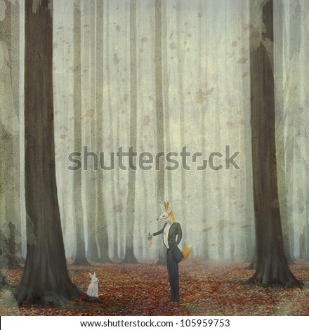 The fox in a wood to hunt on a hare - stock photo