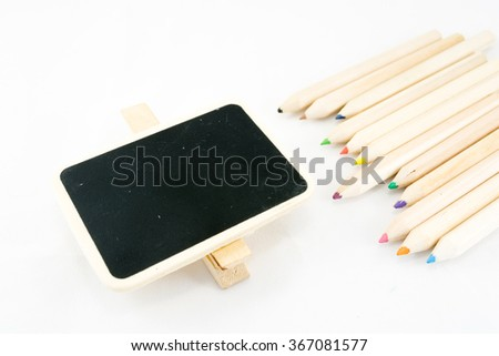 The frame as a square with color pencil on white background - stock photo
