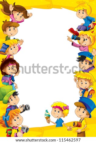 The framing for misc usage - with people in different age - small - teenage - directed to kids - children - stock photo