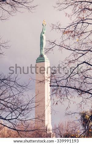The Freedom Monument in Riga. Latvia - stock photo