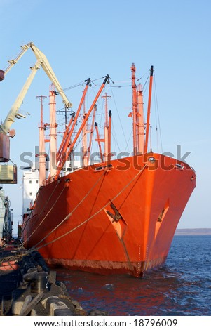 The freight ship in the port - stock photo