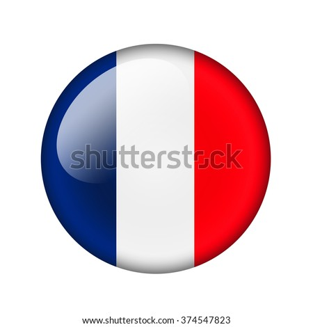 The French flag. Round glossy icon. Isolated on white background. - stock photo