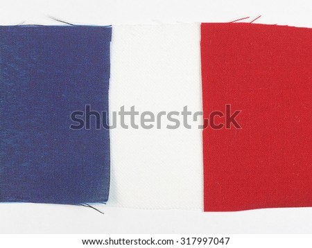 The French national flag of France made with fabric swatches - stock photo