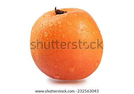 The fresh apricot with a leaf isolated - stock photo